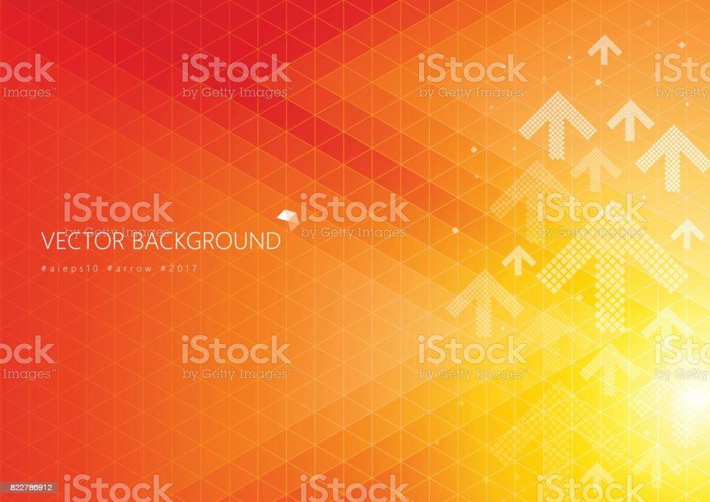 Fundo de cor laranja com padrão de seta de direção branco de desvanecimento - ilustração de arte em vetor