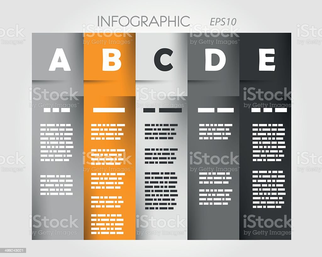 orange column infographic with letters royalty-free stock vector art
