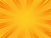 Radial orange comic explosion background. Vector illustration.