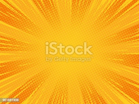Radial orange comic explosion background. Vector illustration.