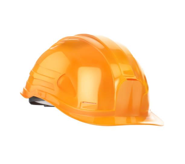 Orange construction helmet. Vector illustration is isolated on a white background. vector art illustration