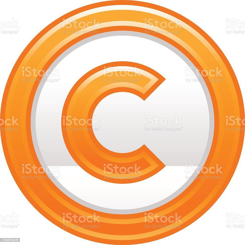 Orange Copyright Symbol Sign Matte Icon Stock Vector Art More
