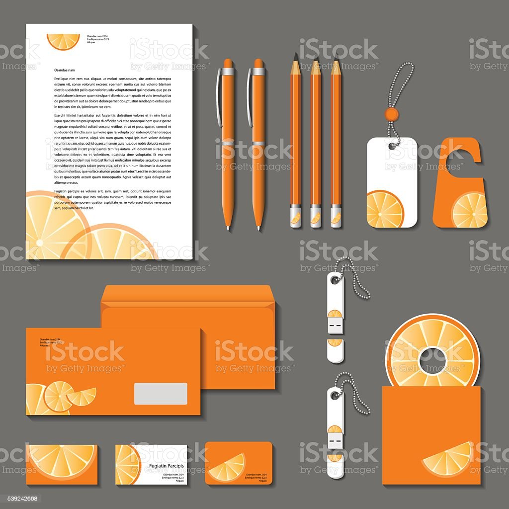 Orange corporate identity. Vector company style royalty-free orange corporate identity vector company style stock vector art & more images of arts culture and entertainment