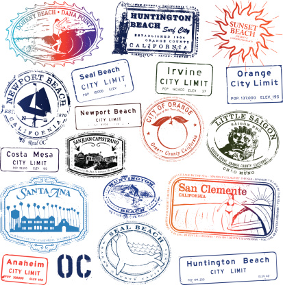 Orange County California Stamp Collection. Kind of like a passport to Orange County.