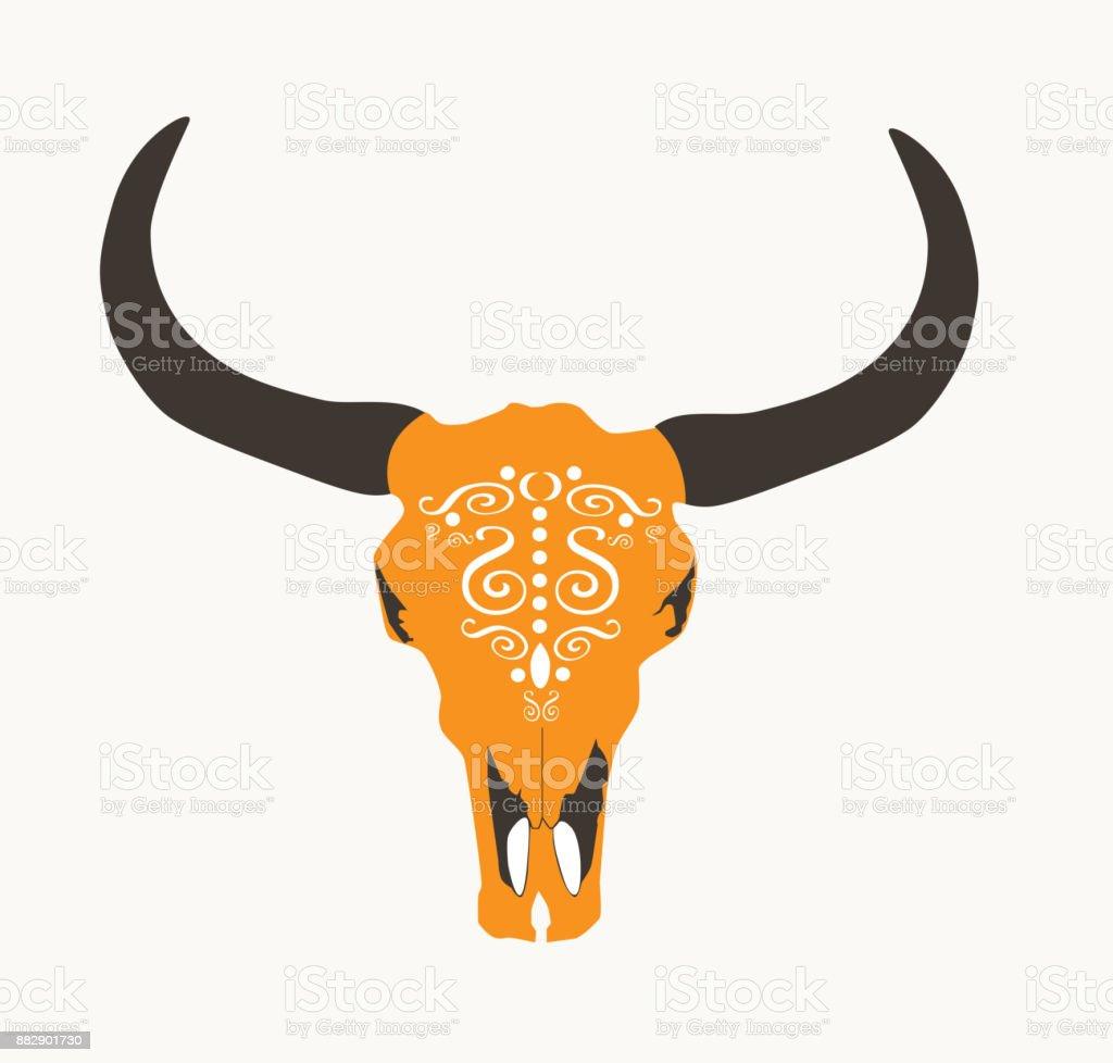 Ilustración de Vector De Cabeza Cráneo De Vaca Naranja Aislada y más ...