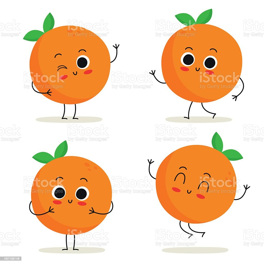 Orange. Cute fruit character set isolated on white