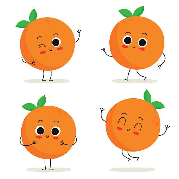 bildbanksillustrationer, clip art samt tecknat material och ikoner med orange. cute fruit character set isolated on white - apelsin