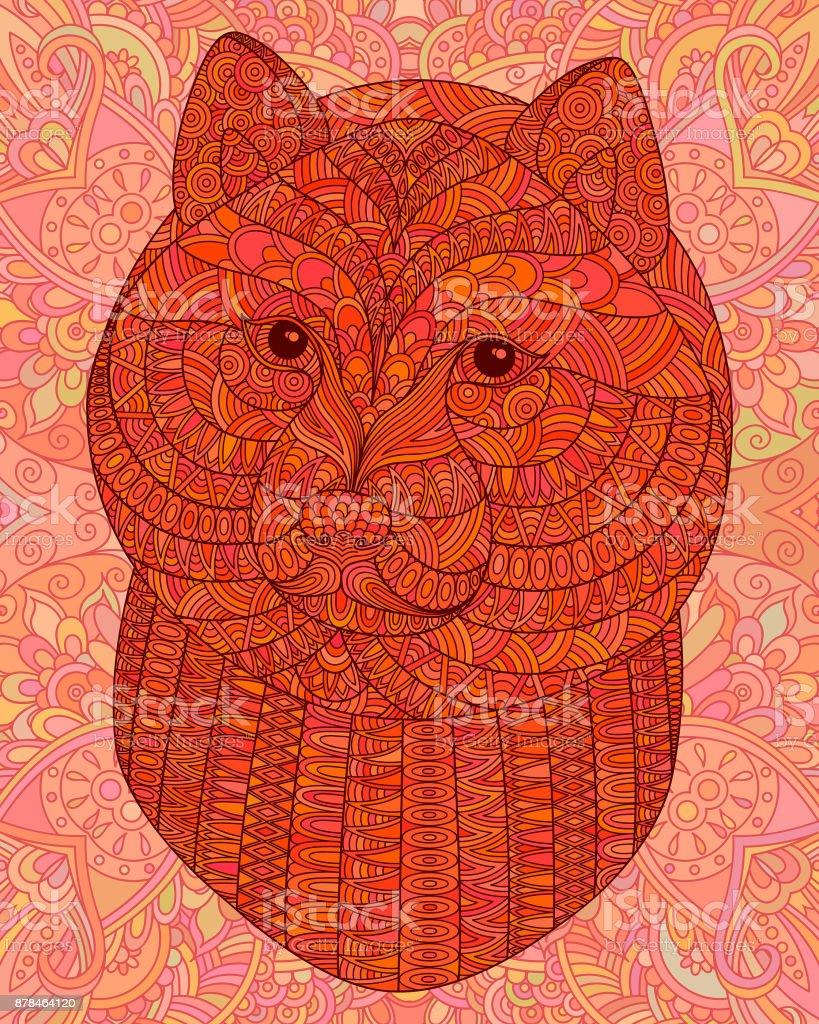 Orange decorative head of a dog. – artystyczna grafika wektorowa