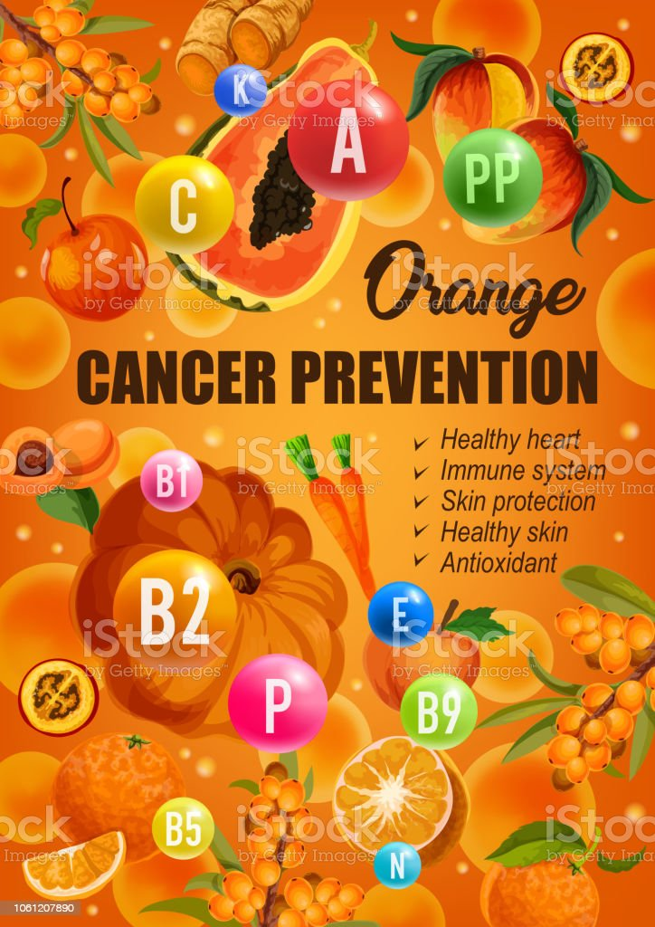 Orange color diet for cancer prevention, healthy hear and skin or...