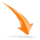 Orange DOWN arrow. Web 3d shiny icon. Vector ilustration isolated on white background