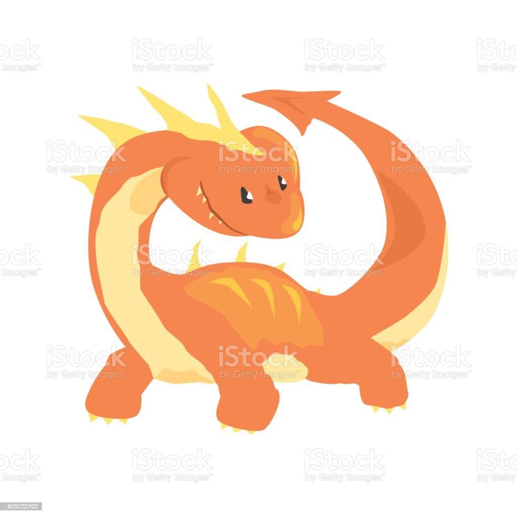 オレンジ色のドラゴン神話と幻想的な動物のベクトル図