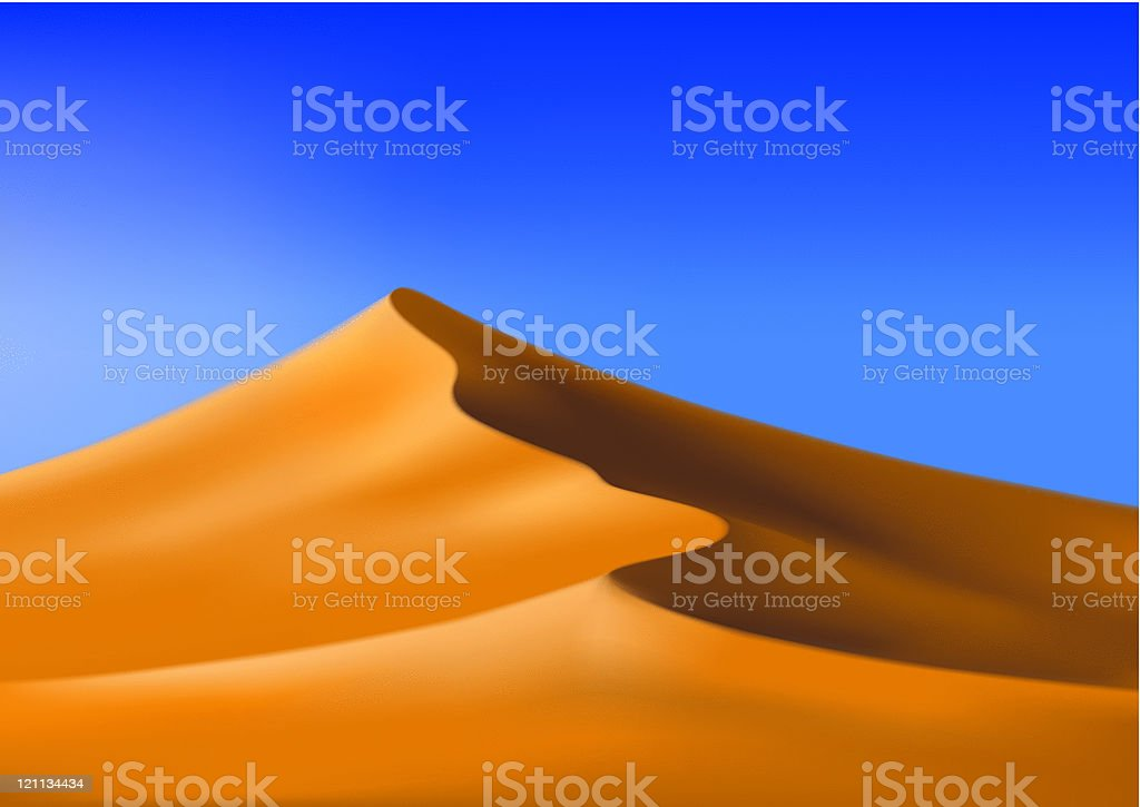 Orange dunes with bright blue sky vector art illustration