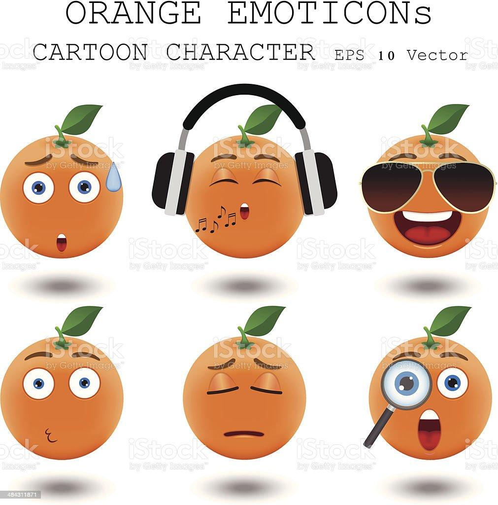 Orange emoticon cartoon character eps 10 vector vector art illustration