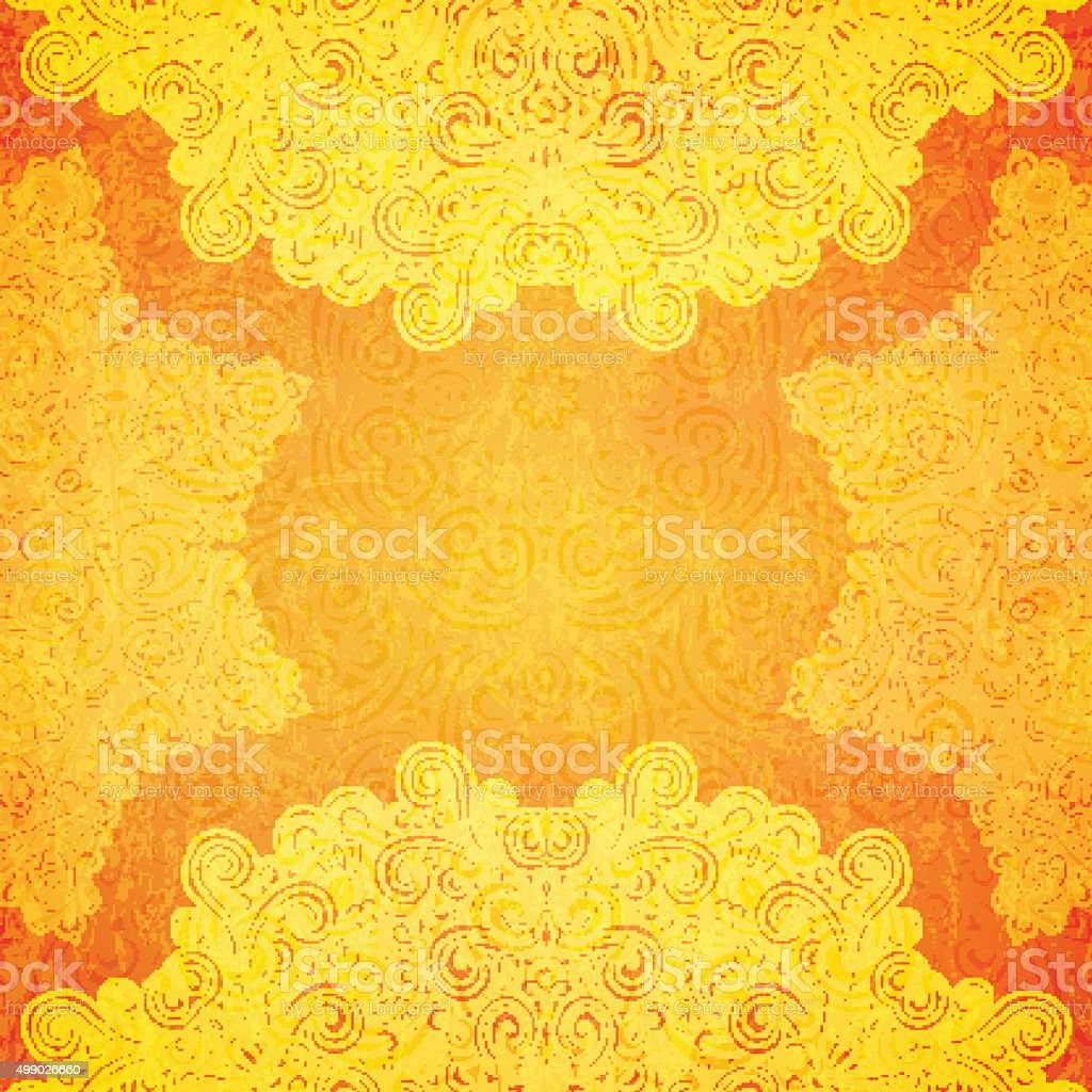 Orange ethnic background vector art illustration