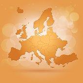Orange Europe map on sunny background