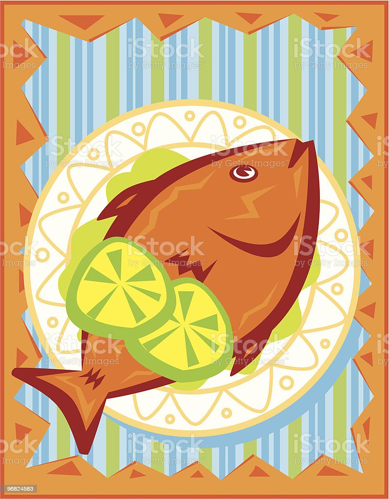 Orange fish with sliced lime on a plate royalty-free orange fish with sliced lime on a plate stock vector art & more images of baked