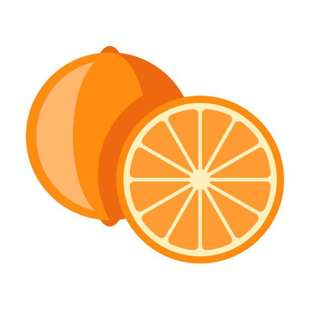 illustrations, cliparts, dessins animés et icônes de icône de fruits orange design plat - orange