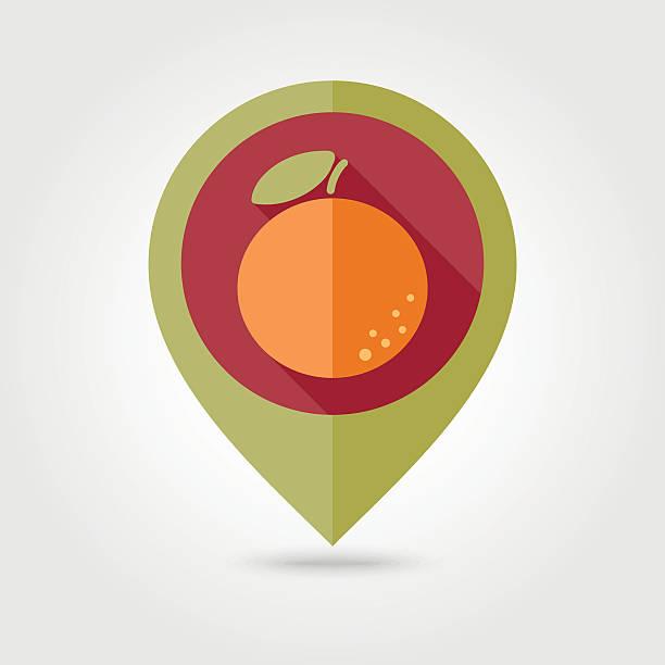 Orange flat pin map icon. Tropical fruit vector art illustration