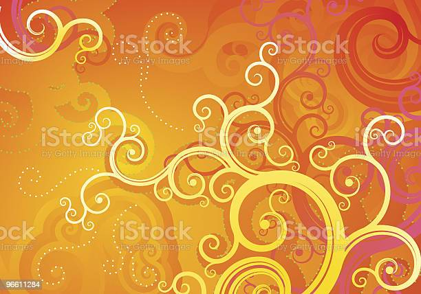 Orange Floral Background Stock Illustration - Download Image Now