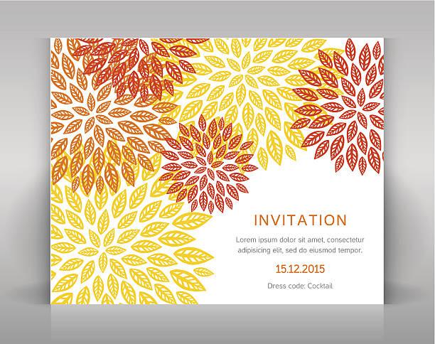 Orange floral invitation. - Illustration vectorielle