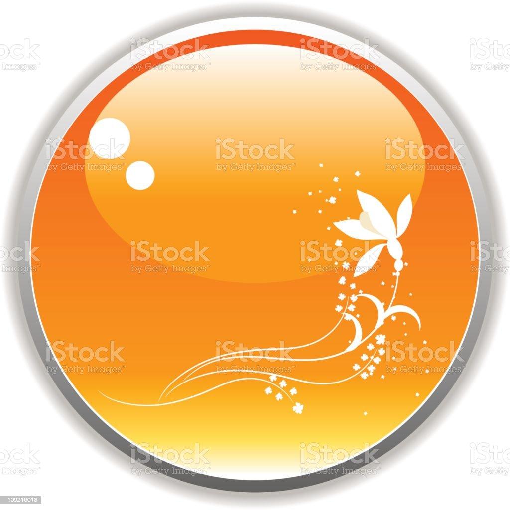 Orange floral spray button royalty-free stock vector art