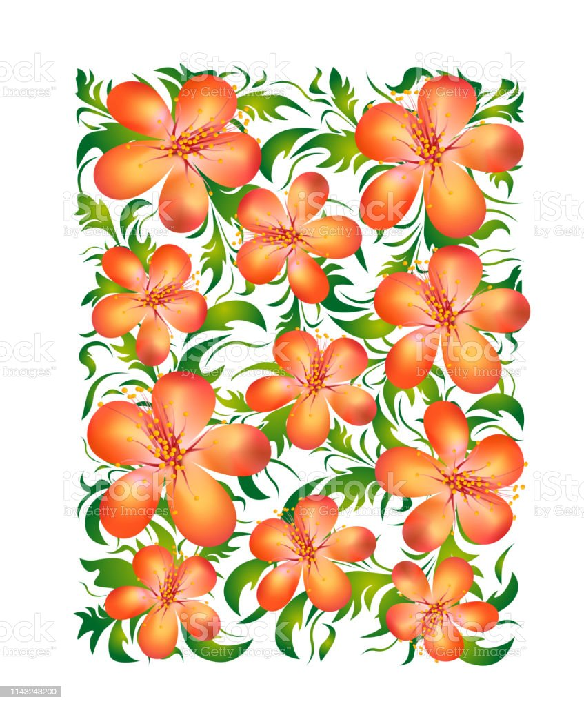 Orange Flowers With Green Leaves On A White Background Floral