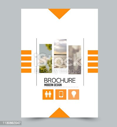 Orange flyer design template with built in images. Brochure for business, education, presentation, advertisement. Corporate identity concept. Editable vector illustration.