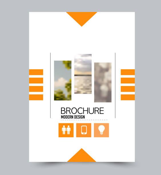 내장 된 이미지와 오렌지 전단지 디자인 서식 파일. 비즈니스, 교육, 프레젠테이션, 광고 브로셔 기업 아이덴티티 개념. 편집 가능한 벡터 일러스트입니다. - 가리기 stock illustrations