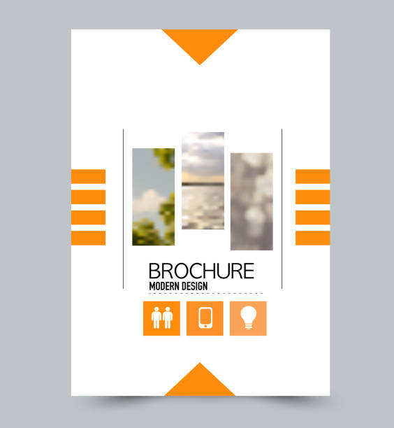 orange flyer design template with built in images. brochure for business, education, presentation, advertisement. corporate identity concept. editable vector illustration. - прикрывать stock illustrations