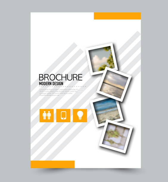 Orange flyer design template with built in images. Brochure for business, education, presentation, advertisement. Corporate identity concept. Editable vector illustration. Orange flyer design template with built in images. Brochure for business, education, presentation, advertisement. Corporate identity concept. Editable vector illustration. annual reports templates stock illustrations
