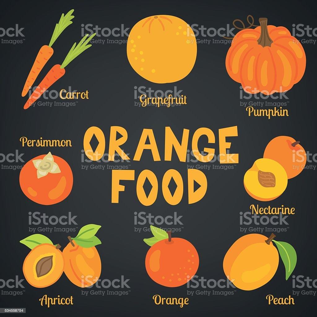 Orange food collection. Carrot, grapefruit, pumpkin, persimmon, nectarine, apricot, peach vector art illustration