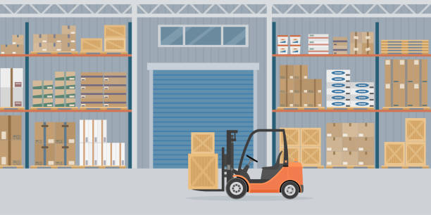 orange forklift truck in warehouse hangar interior. - warehouse stock illustrations