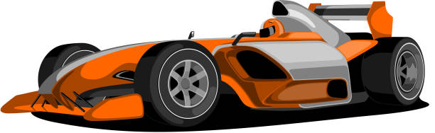 Orange Formula One Car. Formula one car in orange color, isolated on white. indy racing league indycar series stock illustrations