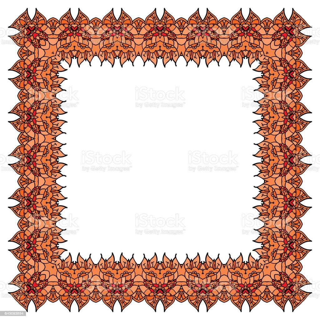 Orange Frame Isolated Square Element Blank Ornate Border Stock ...