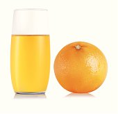 Orange and Orange juice in a glass isolated on white background.
