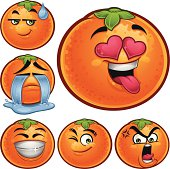 Cartoon orange set of 6 expressions including: Sweat drop, Crying, In love, Smiling, Wink, and Angry