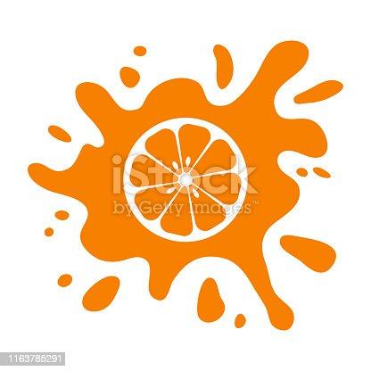 istock Orange fruit citrus, juice splash isolated on white background. Vector 1163785291