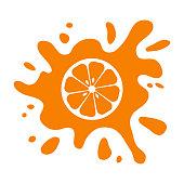 Orange fruit citrus, juice splash isolated on white background. Vector illustrationOrange fruit citrus, juice splash isolated on white background. Vector illustration