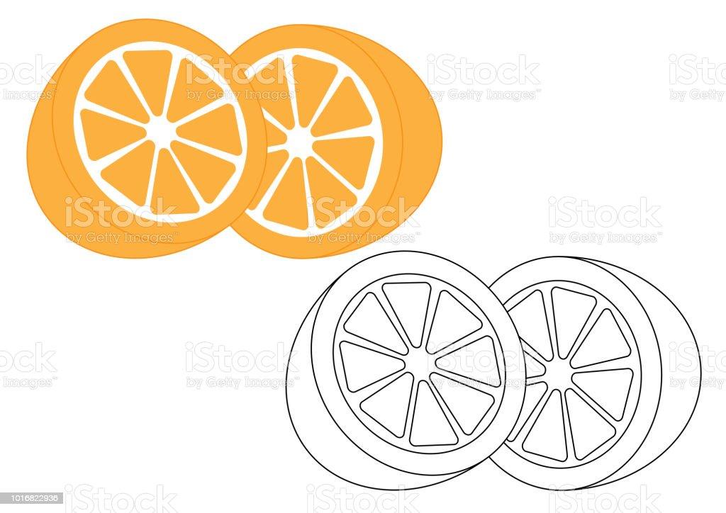 Turuncu Meyve Boyama Sayfası Vektör çizim Stok Vektör Sanatı