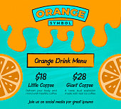 Orange Fruit Flyer or Poster Template for Promotion Banner with Dripping Orange Juice on Turquoise Background