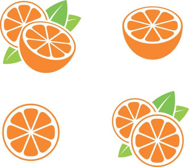 bildbanksillustrationer, clip art samt tecknat material och ikoner med orange frukt. ikonuppsättning. skär apelsiner med blad på vit bakgrund - apelsin