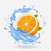 Orange fruit in water splash. Realistic fruit.