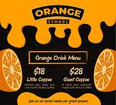 Orange Fruit Juice Banner with Dripping Orange Liquid on Dark Black Background for Flyer or Poster Template