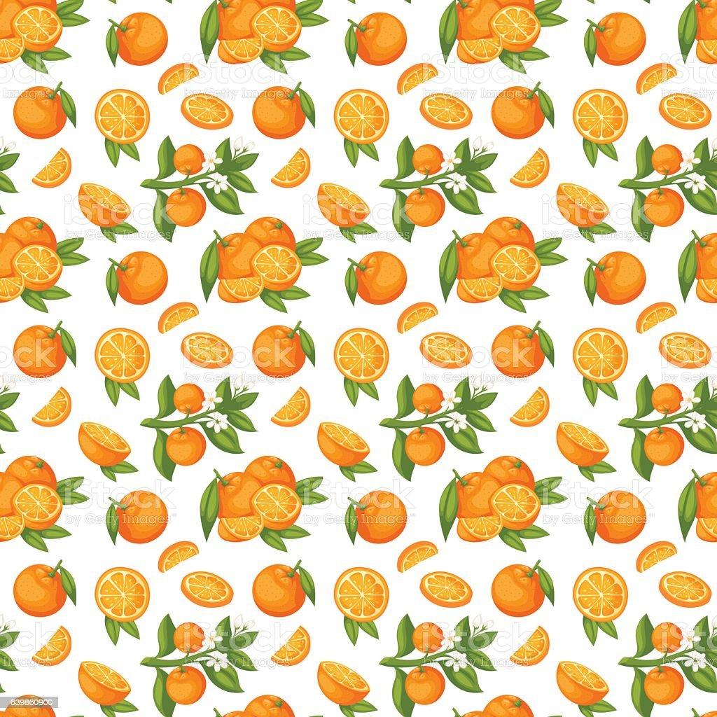 Orange Fruit Seamless Pattern Vector Stock Illustration Download Image Now