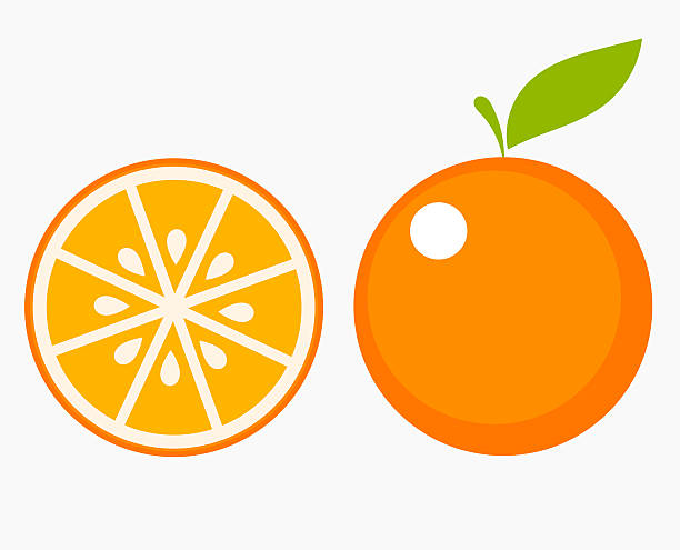 orange fruit slice - fruit icon stock illustrations, clip art, cartoons, & icons