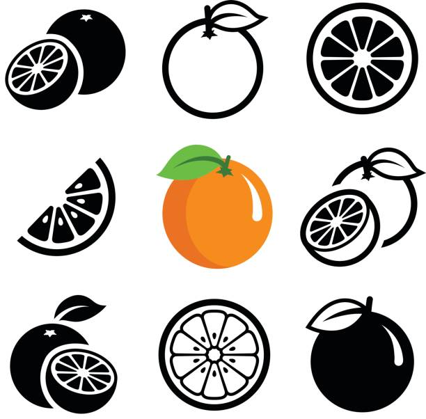 orange fruit - fruit icon stock illustrations, clip art, cartoons, & icons