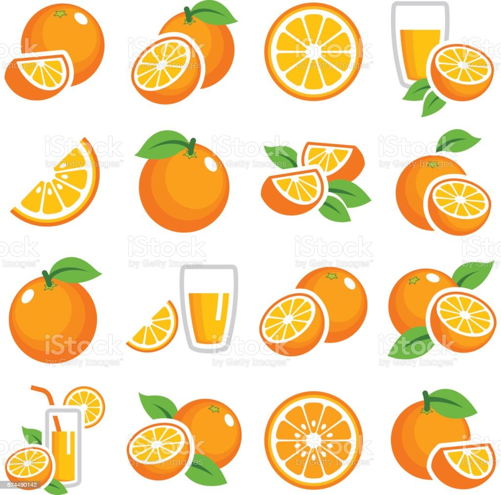 Orange fruit Orange fruit icon collection - color vector Breakfast stock vector