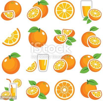 Orange fruit icon collection - color vector