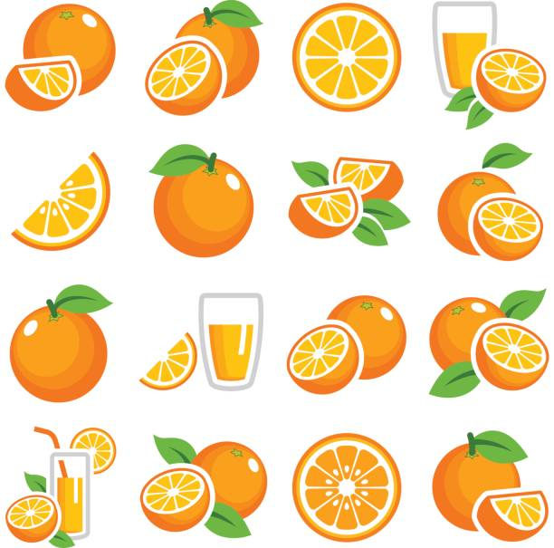 Orange fruit Orange fruit icon collection - color vector orange fruit stock illustrations