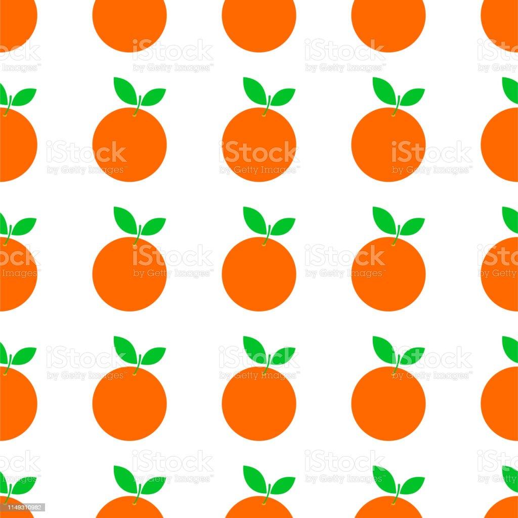 Orange Fruit Vector Seamless Pattern Stock Illustration